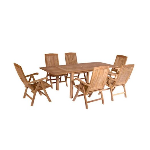 Anderson Teak Bahama 7 Piece Rectangular Extension Table Set with Katana Recliner Folding Armchair