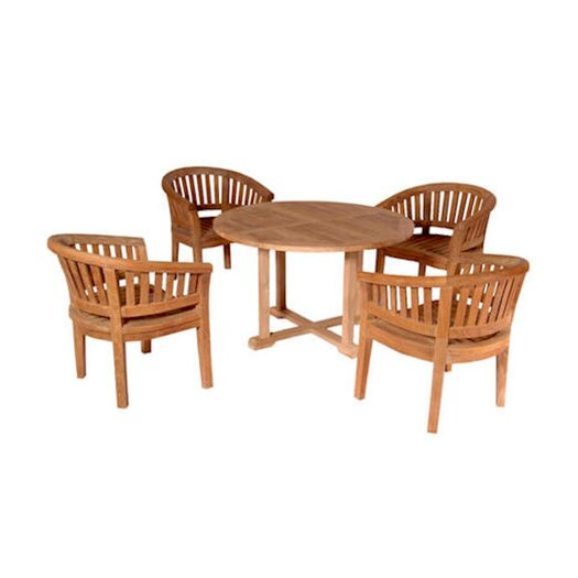 Anderson Teak Tosca 5 Piece Round Dining Table Set with Curve Armchair