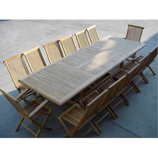 Anderson Teak Valencia 15 Piece Double Extension Table Set and Classic Armchair and Chair