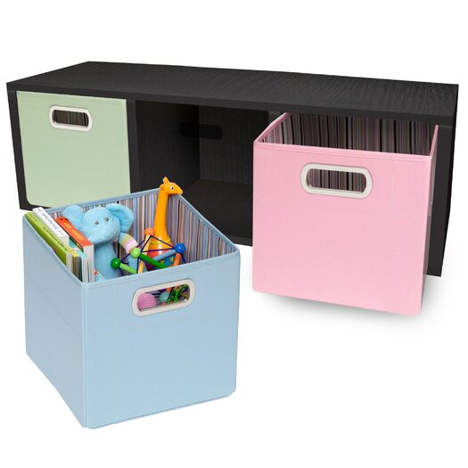 Way Basics Way Basics Eco 3 Cubby Storage Bench and Stackable Organizer