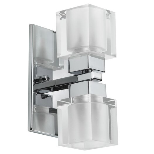 Dainolite New Era Glass Cube 2 Light Vanity Light