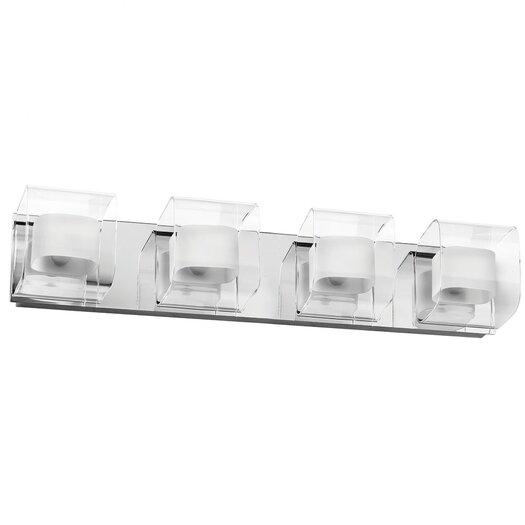 Dainolite Clear/Frosted Glass 4 Light Bath Vanity Light