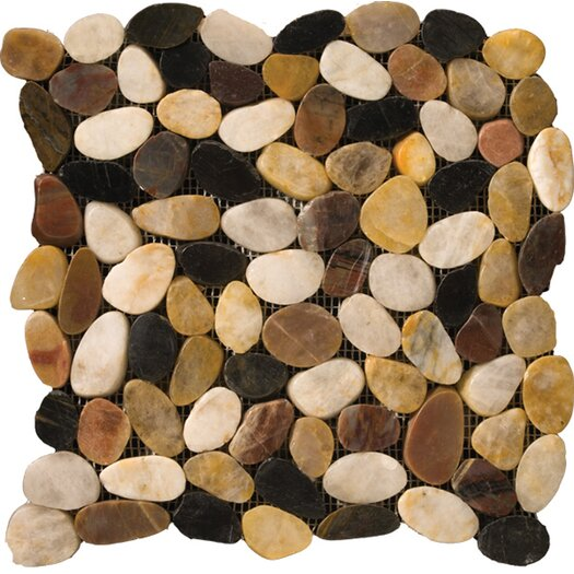 Emser Tile Natural Stone Random Sized Flat Rivera Pebble Mosaic in 4 Color Blend