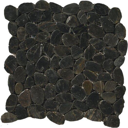 Emser Tile Natural Stone Flat Rivera Random Sized Pebble Unpolished Mosaic in Black