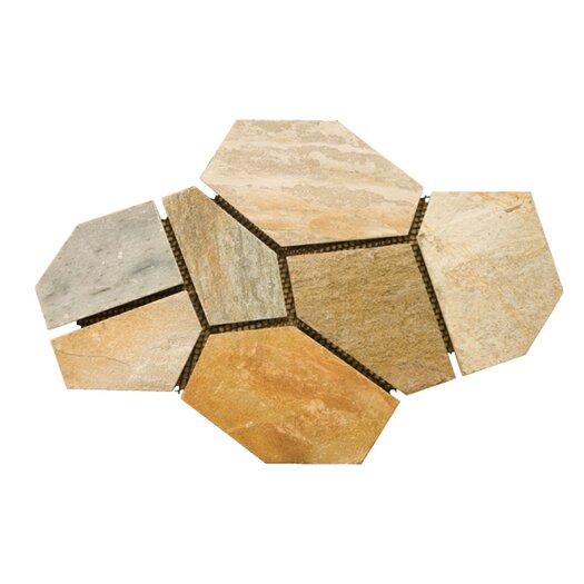 Emser Tile Natural Stone Random Sized Slate Mosaic in Golden Sand