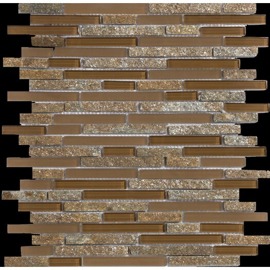 Emser Tile Lucente Linear Random Sized Stone and Glass Unpolished Mosaic in Venezia