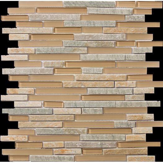 Emser Tile Lucente Linear Random Sized Stone and Glass Unpolished Mosaic in Putini
