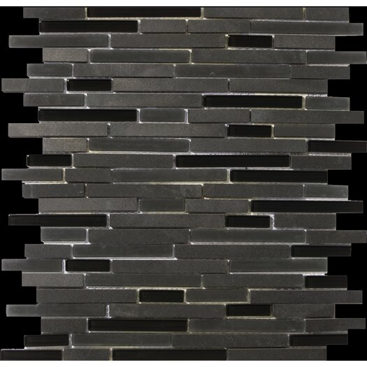 Emser Tile Lucente Random Sized Stone and Glass Linear Mosaic Blend in Zanfirico