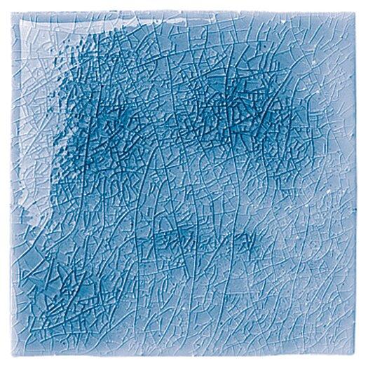 "Emser Tile Cape Cod 6"" x 6"" Double Bullnose Tile Trim in Ocean Blue Crackle"