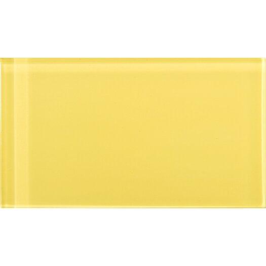 """Emser Tile Lucente 3"""" x 6"""" Glossy Glass Tile in Sunflower"""