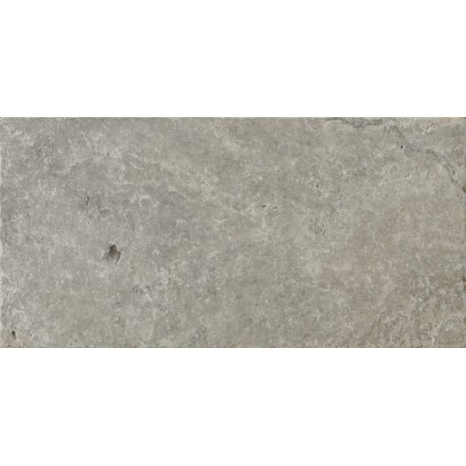 "Emser Tile Natural Stone 8"" x 16"" Tumbled Travertine Tile in Silver"