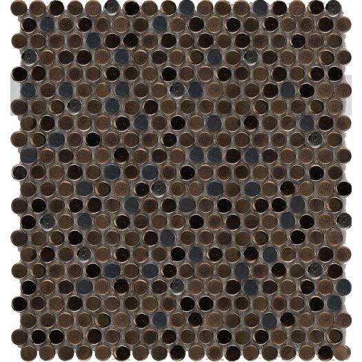 Emser Tile Confetti Penny Round Porcelain Glazed Mosaic in Metal