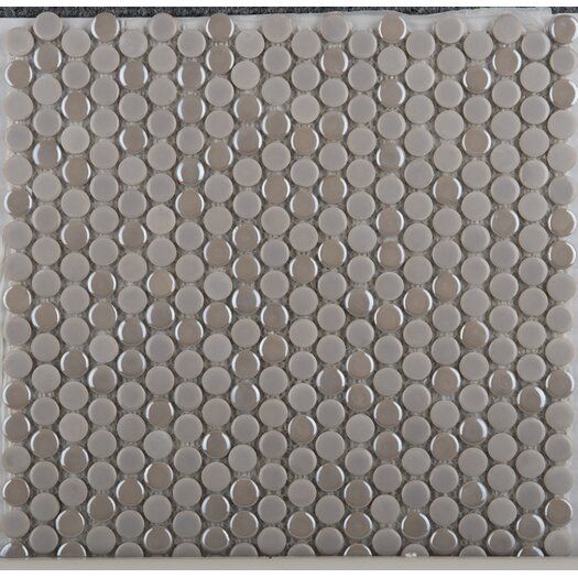 Emser Tile Confetti Penny Round Porcelain Glazed Mosaic in Silver