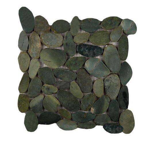 Emser Tile Rivera Random Sized Flat Pebble in Olive