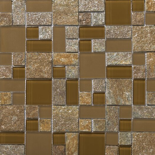 Emser Tile Lucente Random Sized Stone and Glass Mosaic Pattern Blend in Venezia