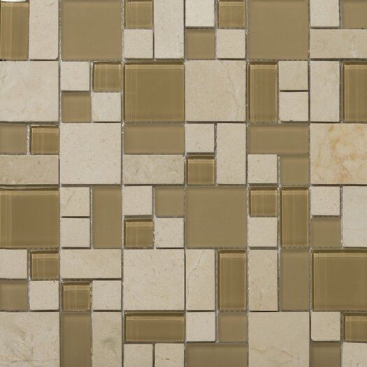 Emser Tile Lucente Random Sized Stone and Glass Mosaic Pattern Blend in Murano