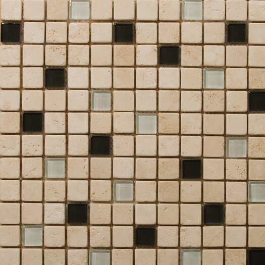 Emser Tile Natural Stone Travertine Ancient Tumbled Glass Blend Mosaic in Legero Beige