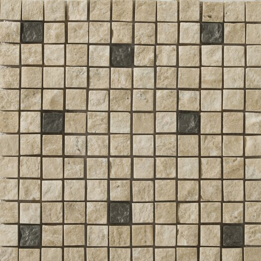 Emser Tile Natural Stone Ancient Metal Blend Travertine Tumbled Unpolished Mosaic in Alloy Beige