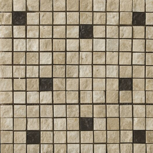 Emser Tile Natural Stone Travertine Ancient Tumbled Metal Blend Mosaic in Element Beige