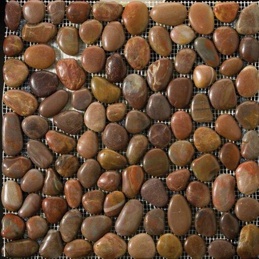 Emser Tile Natural Stone Rivera Random Sized Pebble Unpolished Mosaic in Terra Cotta