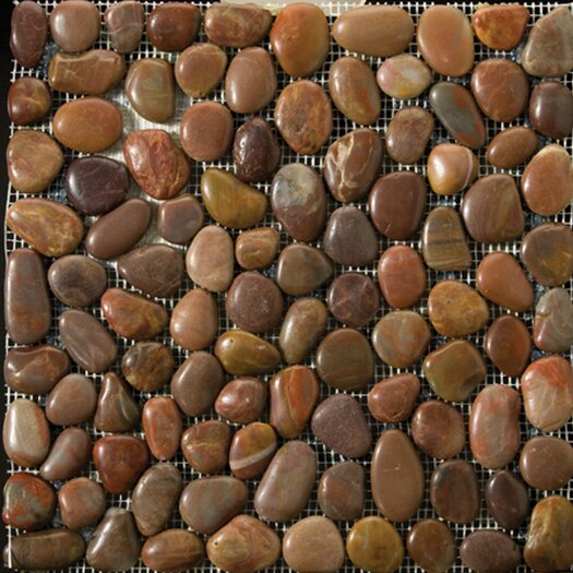 Emser Tile Natural Stone Random Sized Rivera Pebble Mosaic in Terra Cotta