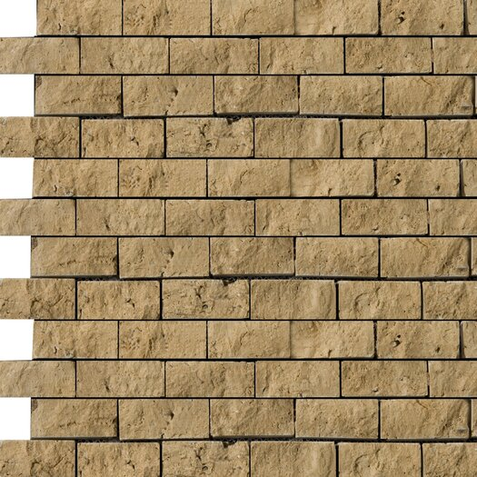 Emser Tile Natural Stone Split Face Brick Joint Travertine Unpolished Mosaic in Mocha