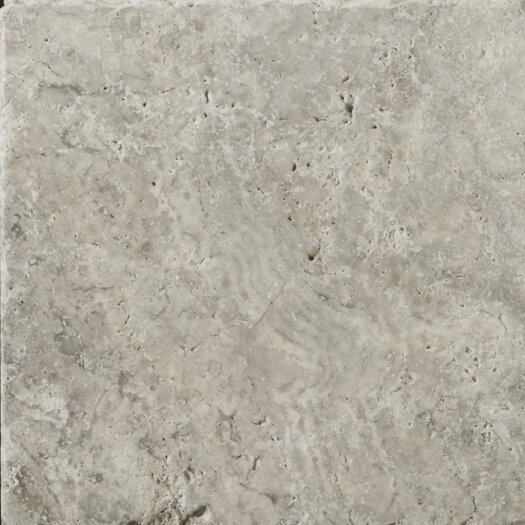 """Emser Tile Natural Stone 8"""" x 8"""" Tumbled Travertine Tile in Silver"""