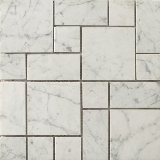 Emser Tile Natural Stone Mini Versailles Random Sized Marble Honed Mosaic in Bianco Gioia