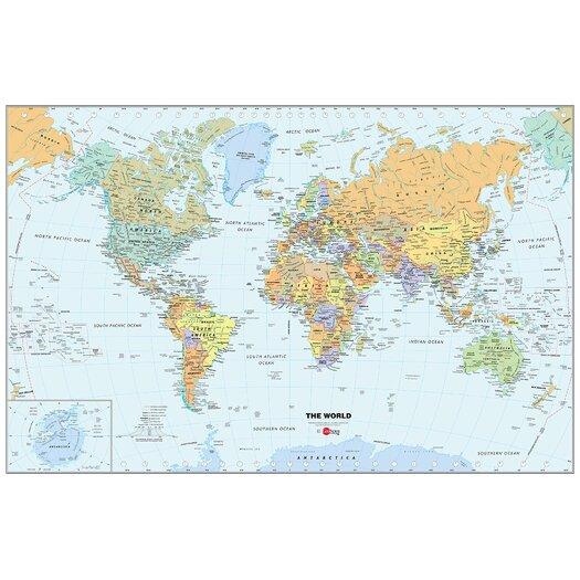 WallPops! World Dry-Erase Map Wall Mural