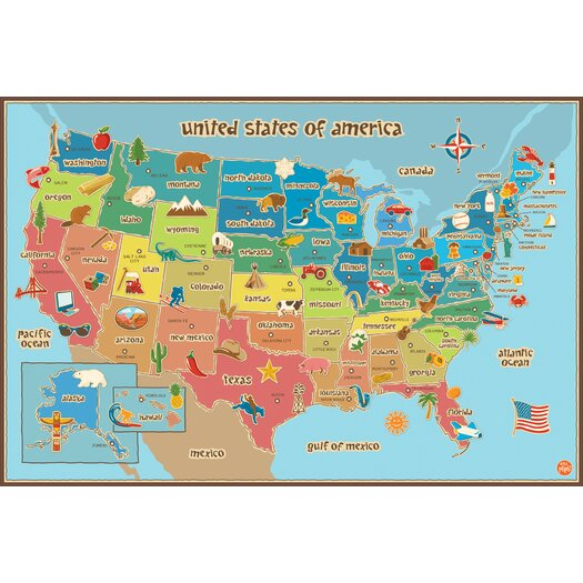 WallPops! Dry Erase Kids USA Map Wall Mural