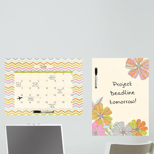 WallPops! Dry Erase St Tropez Message and Calendar Chalkboard Wall Decal