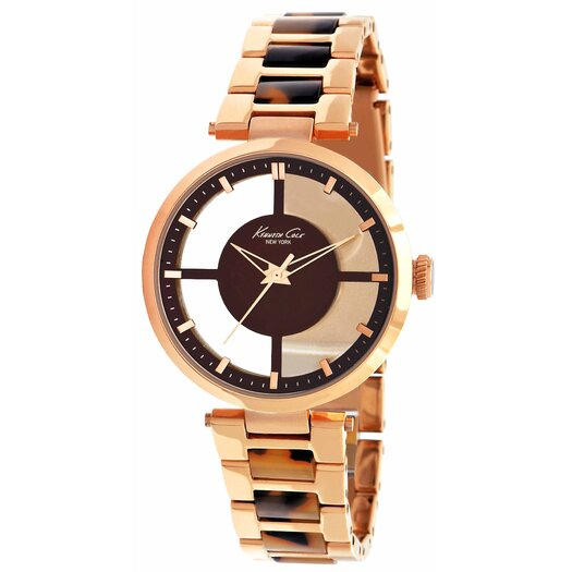 Kenneth Cole Women's Plastic Bracelets Watch in Brown and Rose Gold