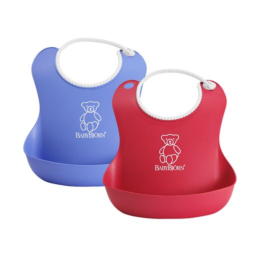 BabyBjorn Soft Bib Two Pack in Bright Red and Ocean Blue