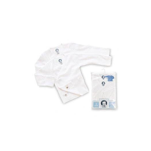 Gerber Baby Care Newborn Side Snap Mitt Cuff Shirt in White (Pack of 2)