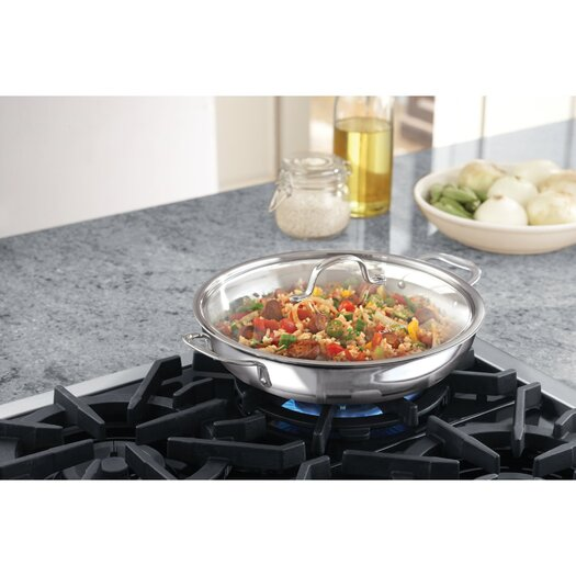 "Calphalon Tri-Ply Stainless Steel 12"" Frying Pan with Lid"