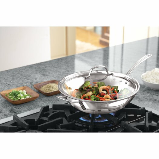 "Calphalon Tri-Ply Stainless Steel 12"" Stir Fry & Cover"