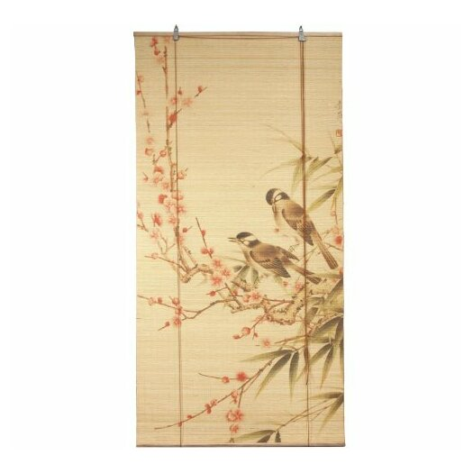 Oriental Furniture Love Birds Bamboo Roller Blind