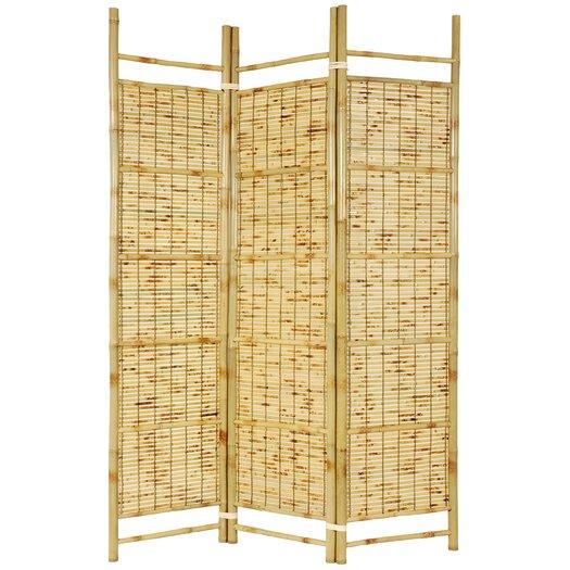 "Oriental Furniture 72"" x 51"" Bamboo Tree Burnt Shoji 3 Panel Room Divider"