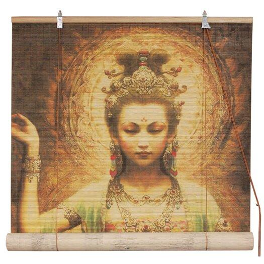 Oriental Furniture Kwan Yin with Lotus Bamboo Roller Blind