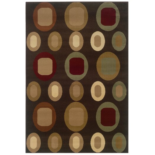 LR Resources Adana Oval Motifs Brown Area Rug