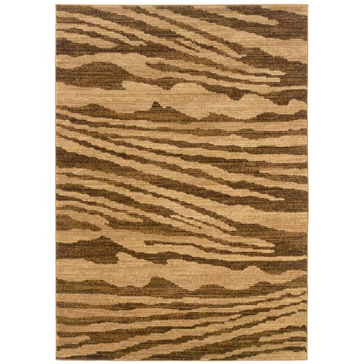 LR Resources Opulence Woodgrain Inspired Cream/Light Brown Area Rug