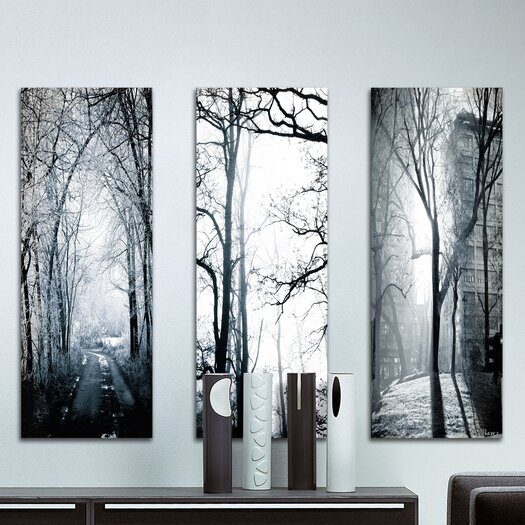 Parvez Taj Snow Emerald Triptych - Art Print on Premium Canvas