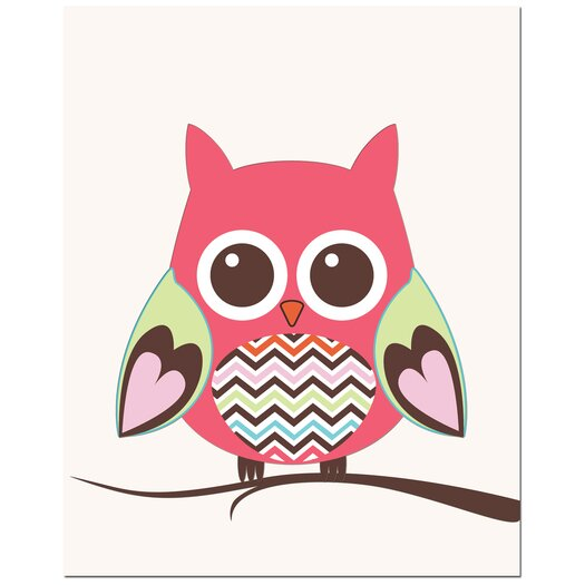 Secretly Designed Zig Zag Belly Owl on Tree Art Print