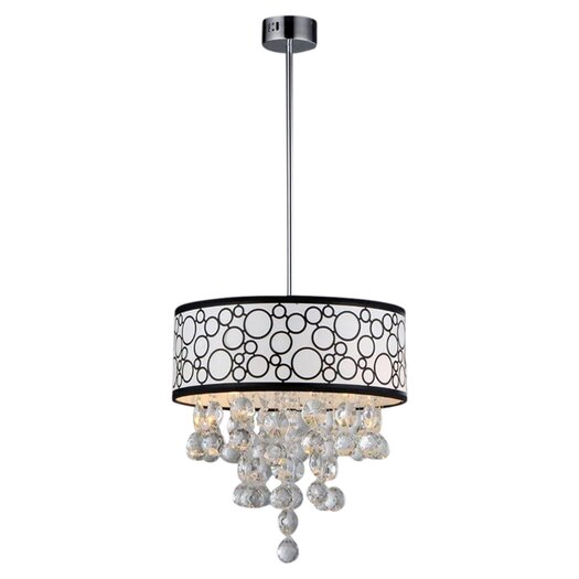Warehouse of Tiffany Polka 4 Light Crystal Drum Foyer Pendant