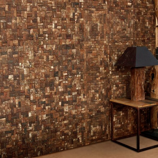 Cocomosaic Square Style Wooden Bark Textured Mosaic in Brown