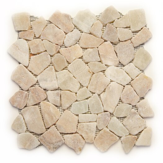 Solistone Decorative Pebbles Random Sized Interlocking Mesh Tile in Alor Crystal