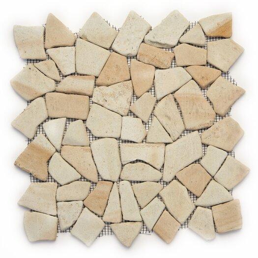 Solistone Decorative Pebbles Random Sized Interlocking Mesh Tile in Bamboo