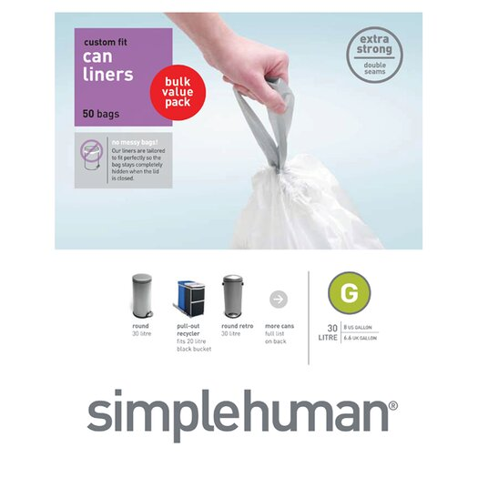 simplehuman 30 L / 8 Gal, Custom Fit Trash Can Liner G, 50-Count Box