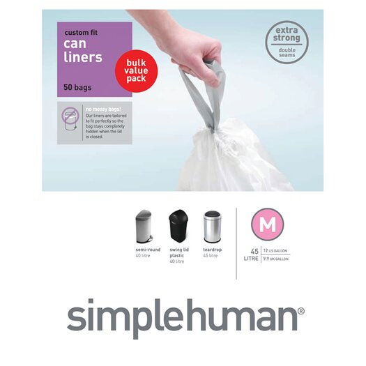 simplehuman 45 L / 12 Gal, Custom Fit Trash Can Liner M, 50-Count Box