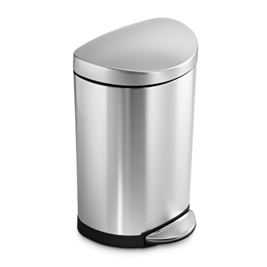 simplehuman 10 L / 2.6 Gal, Semi Round Step Trash Can, Stainless Steel